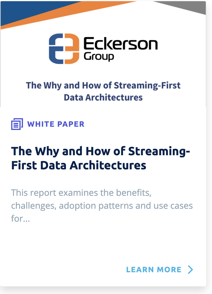 The WHy and How of Streaming First Data Architectures by Eckerson & Equalum